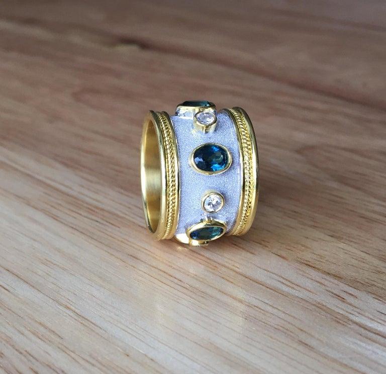 Byzantine Georgios Collections 18 Karat Yellow Gold White Rhodium Diamond Topaz Wide Ring For Sale