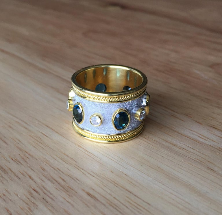 Georgios Collections 18 Karat Yellow Gold White Rhodium Diamond Topaz Wide Ring In New Condition For Sale In Astoria, NY
