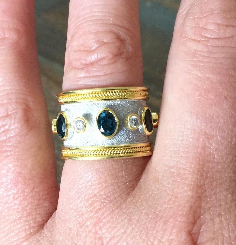 Women's or Men's Georgios Collections 18 Karat Yellow Gold White Rhodium Diamond Topaz Wide Ring For Sale