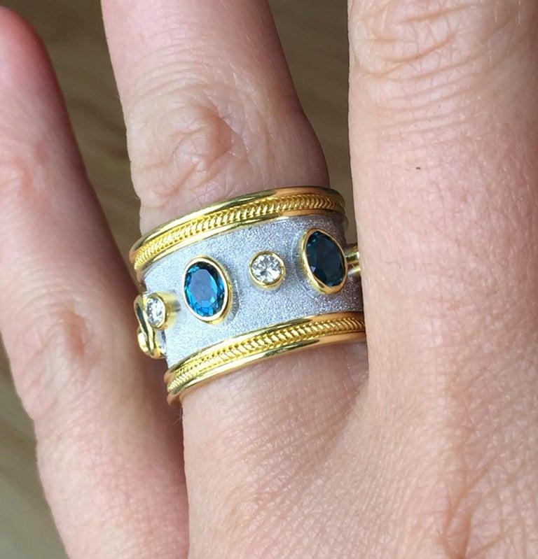 Georgios Collections 18 Karat Yellow Gold White Rhodium Diamond Topaz Wide Ring For Sale 1