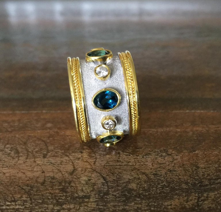 Georgios Collections 18 Karat Yellow Gold White Rhodium Diamond Topaz Wide Ring For Sale 2