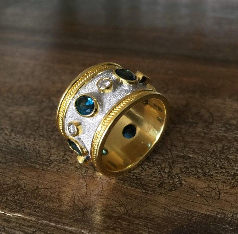 Georgios Collections 18 Karat Yellow Gold White Rhodium Diamond Topaz Wide Ring For Sale 3