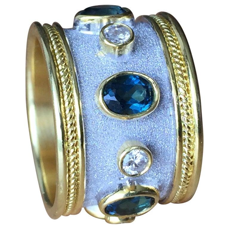 Georgios Collections 18 Karat Yellow Gold White Rhodium Diamond Topaz Wide Ring For Sale