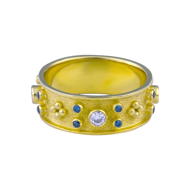 Byzantine Georgios Collections 18 Karat Yellow Blue and White Diamond Band Ring For Sale