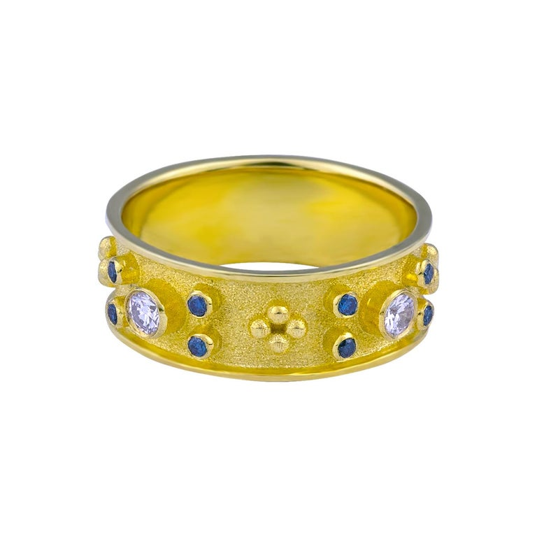 Round Cut Georgios Collections 18 Karat Yellow Blue and White Diamond Band Ring For Sale
