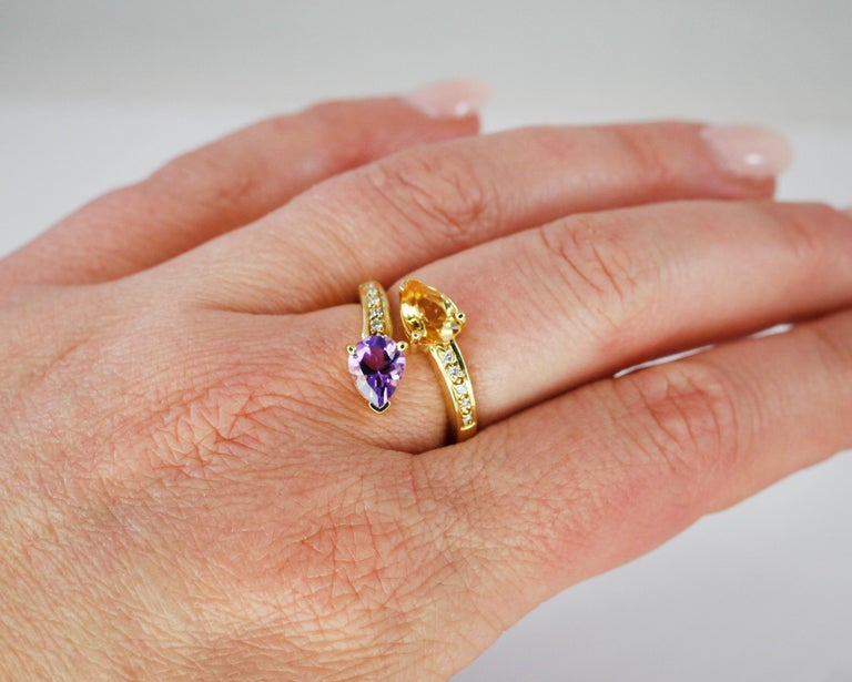 Georgios Collections 18 Karat Yellow Gold Amethyst Citrine and Diamond Ring For Sale 5