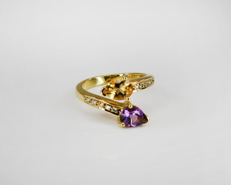 Georgios Collections 18 Karat Yellow Gold Amethyst Citrine and Diamond Ring For Sale 6