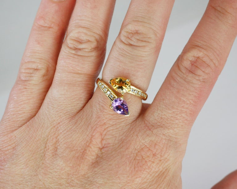 Georgios Collections 18 Karat Yellow Gold Amethyst Citrine and Diamond Ring For Sale 8