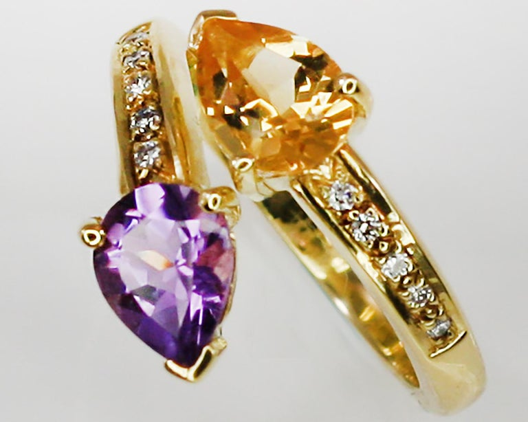Georgios Collections 18 Karat Yellow Gold Amethyst Citrine and Diamond Ring For Sale 9