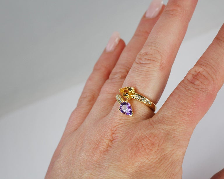 Contemporary Georgios Collections 18 Karat Yellow Gold Amethyst Citrine and Diamond Ring For Sale