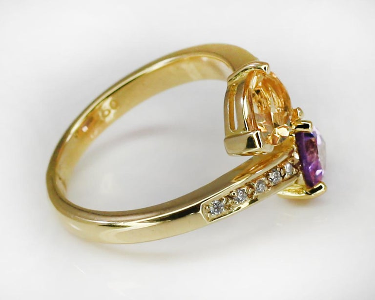 Women's Georgios Collections 18 Karat Yellow Gold Amethyst Citrine and Diamond Ring For Sale