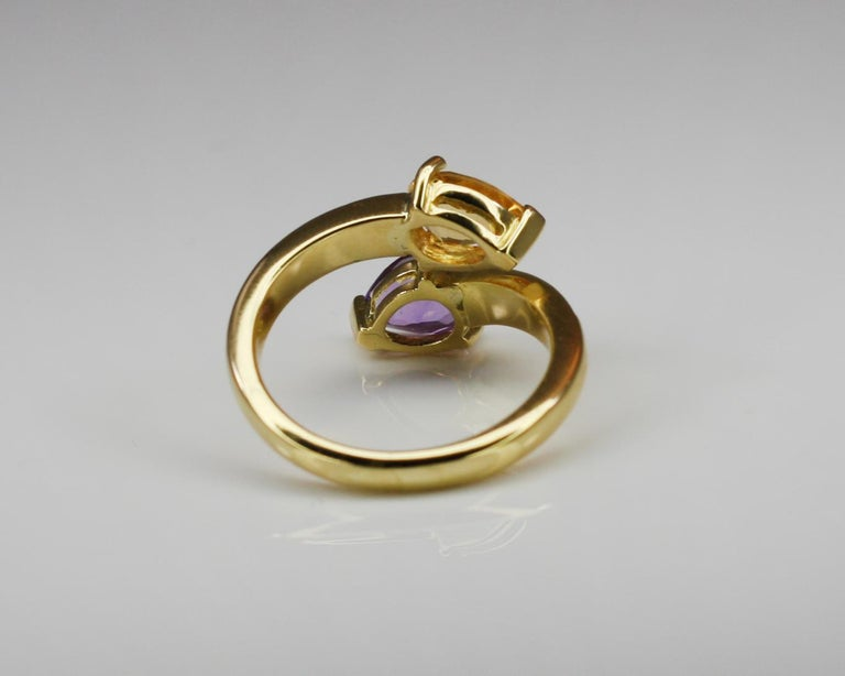 Georgios Collections 18 Karat Yellow Gold Amethyst Citrine and Diamond Ring For Sale 2