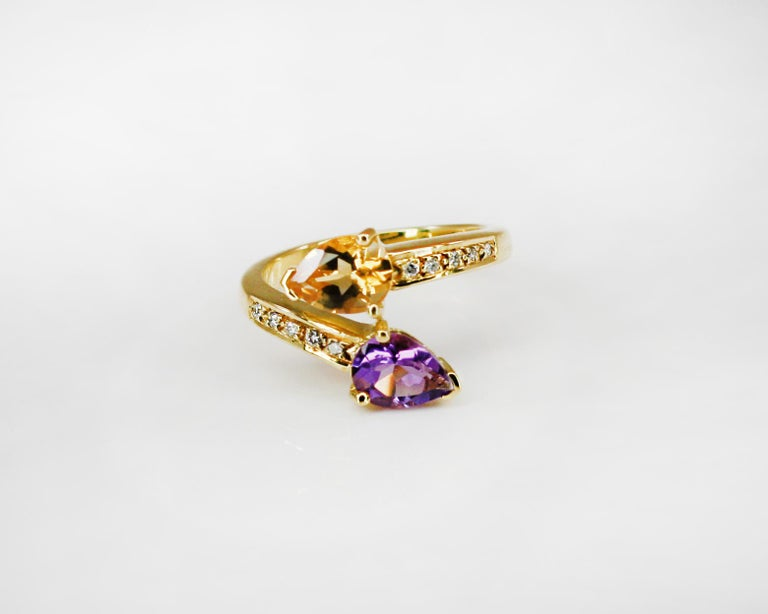 Georgios Collections 18 Karat Yellow Gold Amethyst Citrine and Diamond Ring For Sale 3