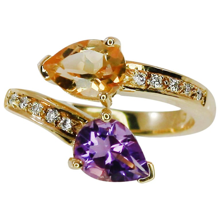 Georgios Collections 18 Karat Yellow Gold Amethyst Citrine and Diamond Ring For Sale