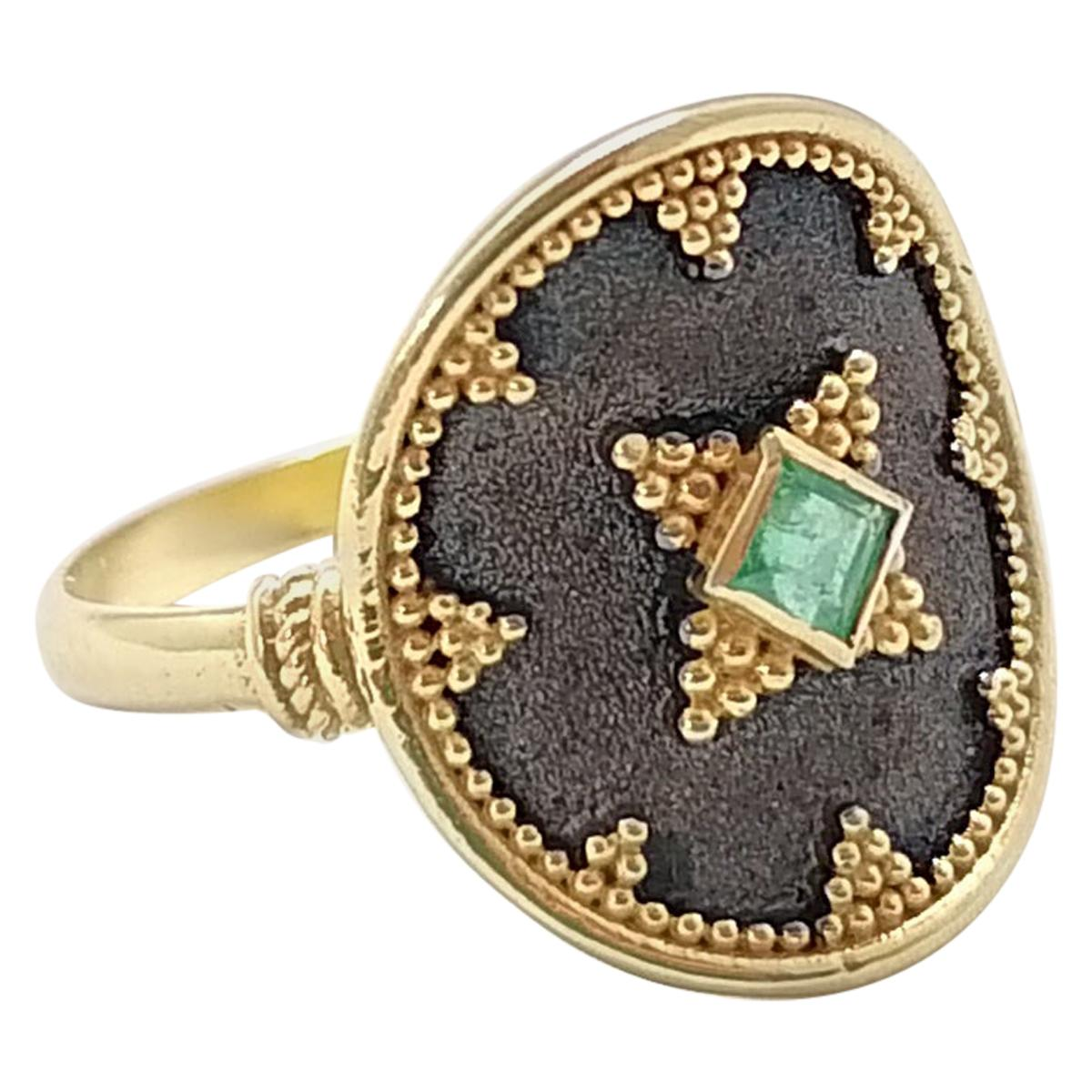 Georgios Collections 18 Karat Yellow Gold and Rhodium Emerald Round Band Ring