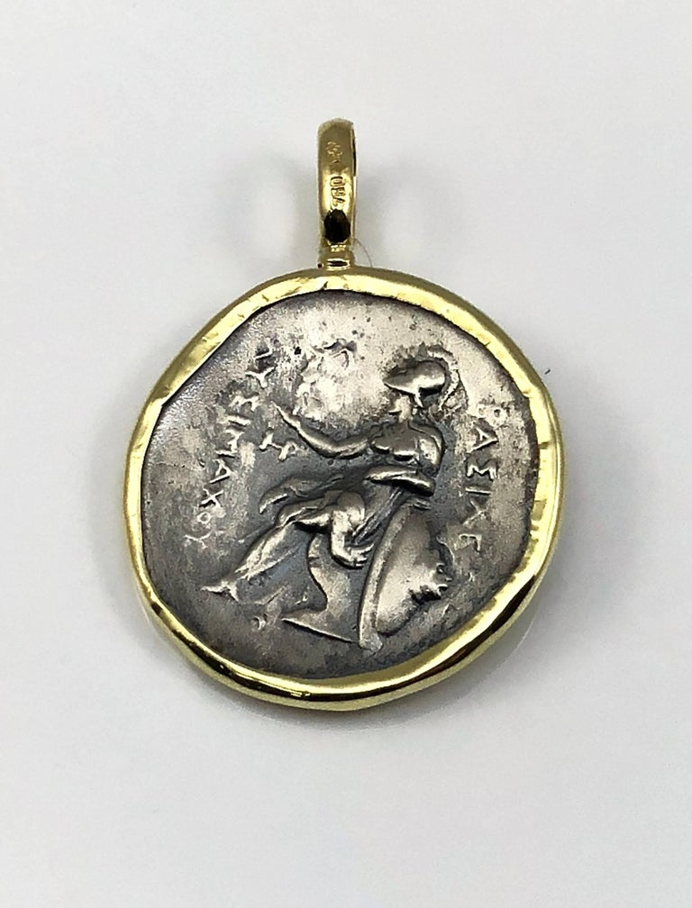 Georgios Collections 18 Karat Yellow Gold and Silver Coin Pendant of Alexandros In New Condition For Sale In Astoria, NY