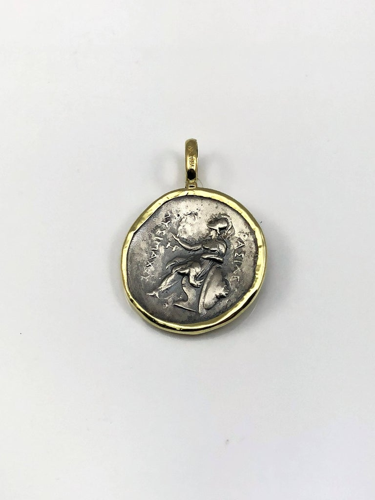 Women's or Men's Georgios Collections 18 Karat Yellow Gold and Silver Coin Pendant of Alexandros For Sale