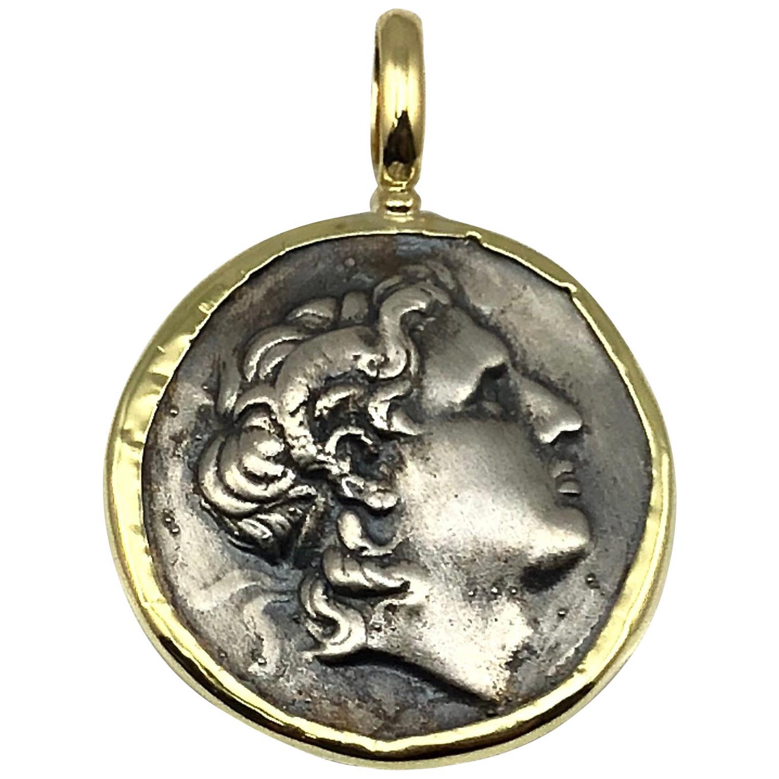 Georgios Collections 18 Karat Yellow Gold and Silver Coin Pendant of Alexandros