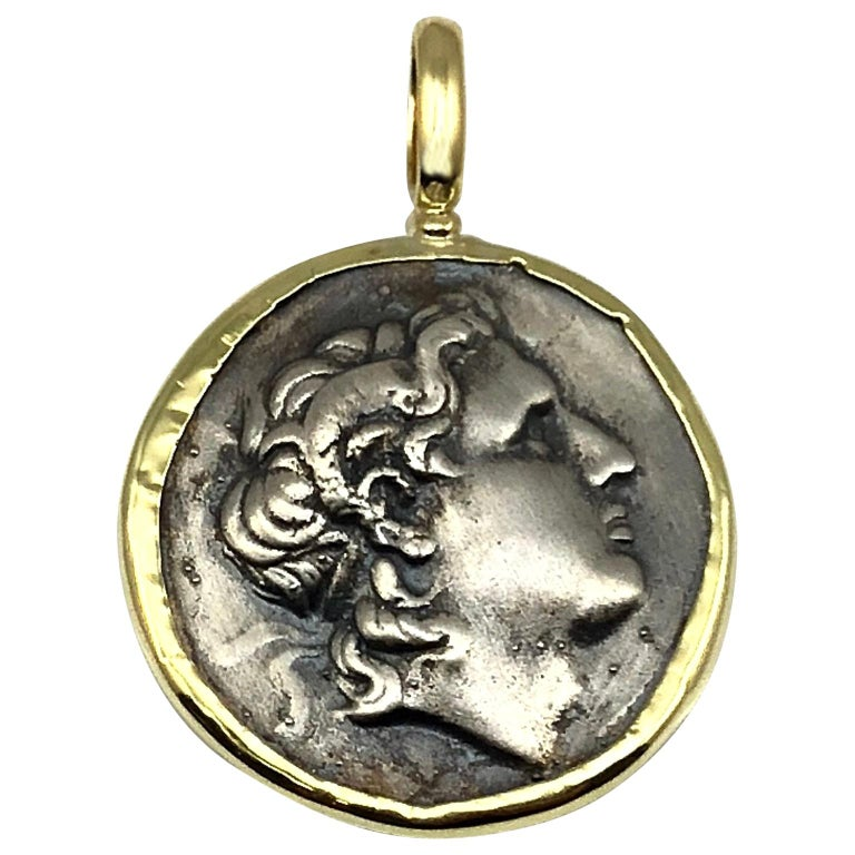 Georgios Collections 18 Karat Yellow Gold and Silver Coin Pendant of Alexandros For Sale