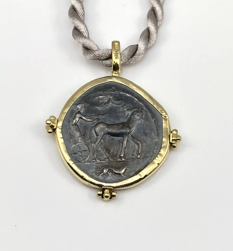 Round Cut Georgios Collections 18 Karat Yellow Gold and Silver Coin Pendant of Dimitra. For Sale