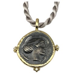 Georgios Collections 18 Karat Yellow Gold and Silver Coin Pendant of Dimitra.