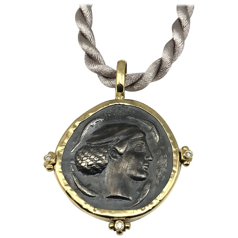 Georgios Collections 18 Karat Yellow Gold and Silver Coin Pendant of Dimitra. For Sale