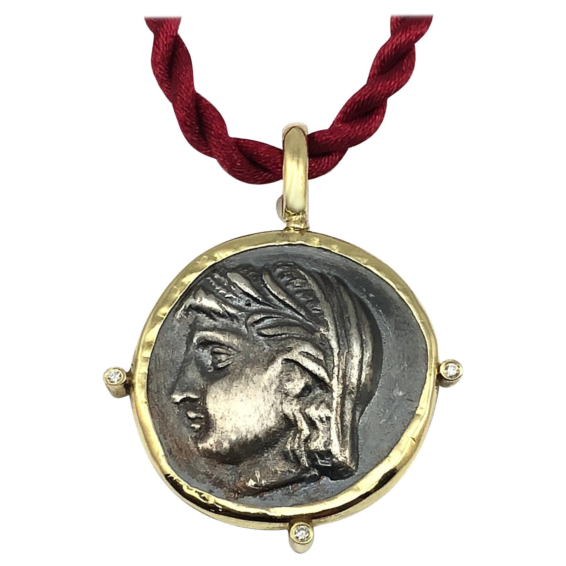 Georgios Collections 18 Karat Yellow Gold and Silver Diamond Coin Pendant