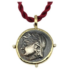 Georgios Collections 18 Karat Solid Yellow Gold and Silver Diamond Coin Pendant