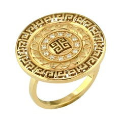 Georgios Collections 18 Karat Yellow Gold and White Diamond Greek Key Band Ring