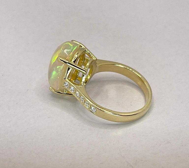Georgios Collections 18 Karat Yellow Gold Australian Opal Diamond Band Ring For Sale 4