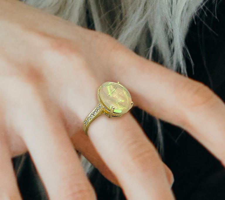 Georgios Collections 18 Karat Yellow Gold Australian Opal Diamond Band Ring For Sale 8