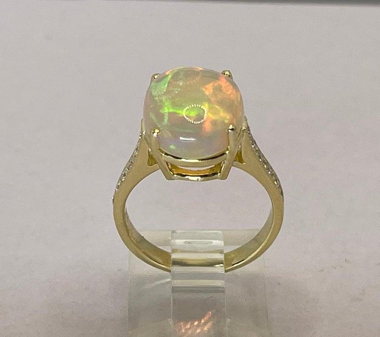 Georgios Collections 18 Karat Yellow Gold Australian Opal Diamond Band Ring For Sale 9