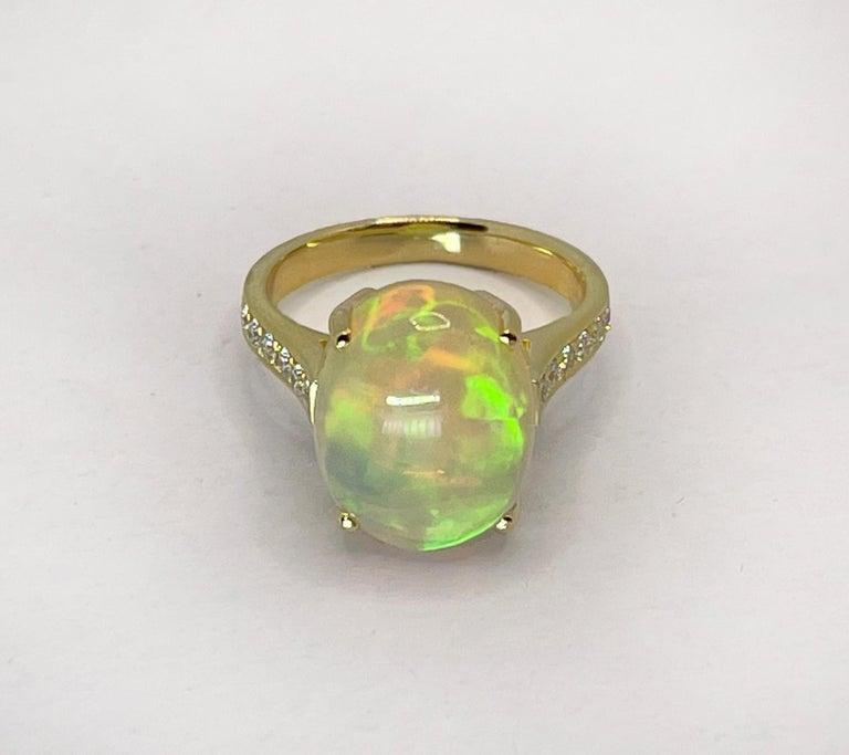 Georgios Collections 18 Karat Yellow Gold Australian Opal Diamond Band Ring For Sale 10