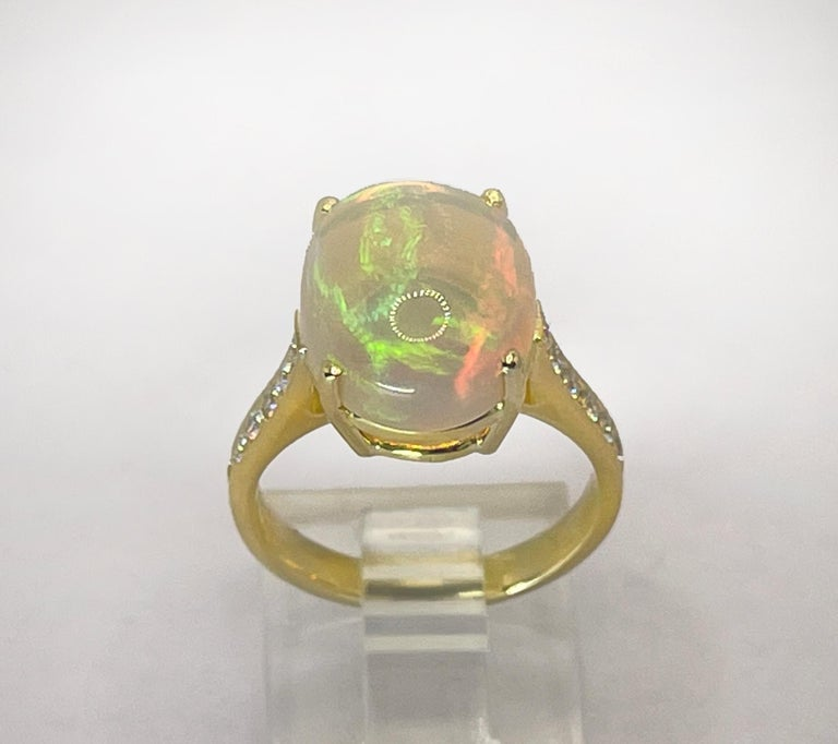 Contemporary Georgios Collections 18 Karat Yellow Gold Australian Opal Diamond Band Ring For Sale