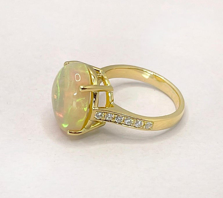 Georgios Collections 18 Karat Yellow Gold Australian Opal Diamond Band Ring In New Condition For Sale In Astoria, NY