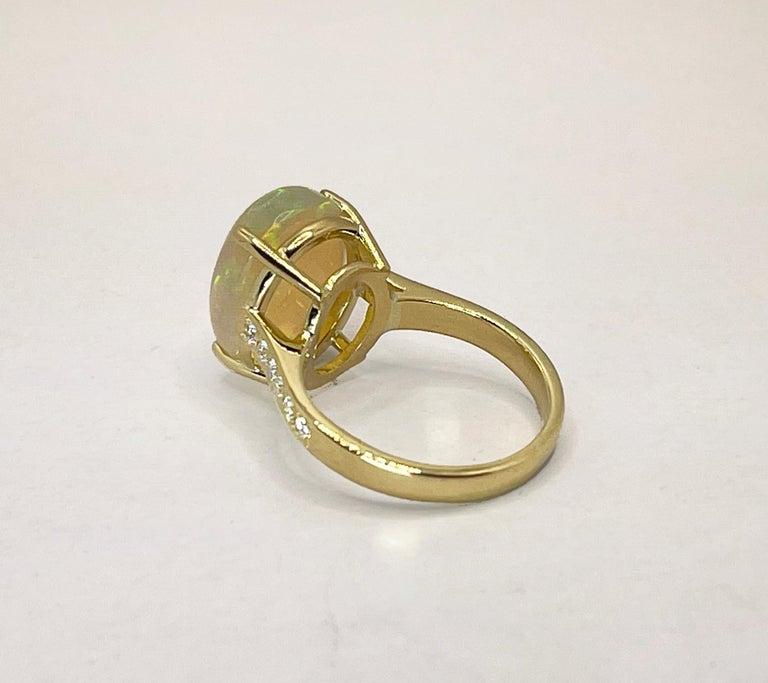 Georgios Collections 18 Karat Yellow Gold Australian Opal Diamond Band Ring For Sale 1