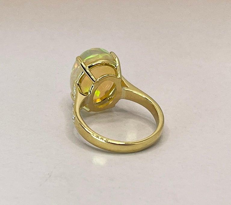 Georgios Collections 18 Karat Yellow Gold Australian Opal Diamond Band Ring For Sale 2