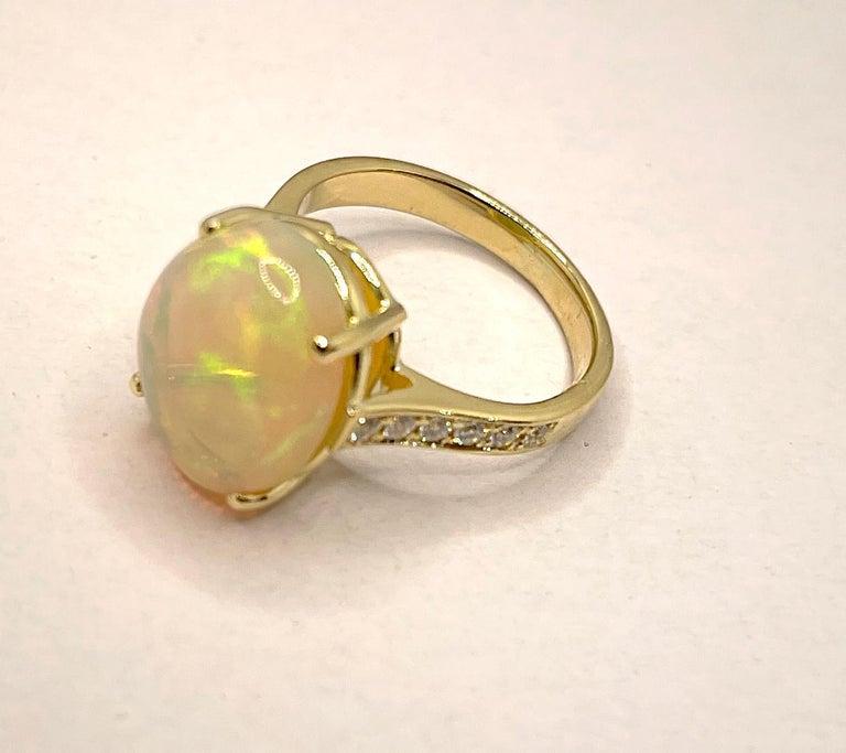 Georgios Collections 18 Karat Yellow Gold Australian Opal Diamond Band Ring For Sale 3