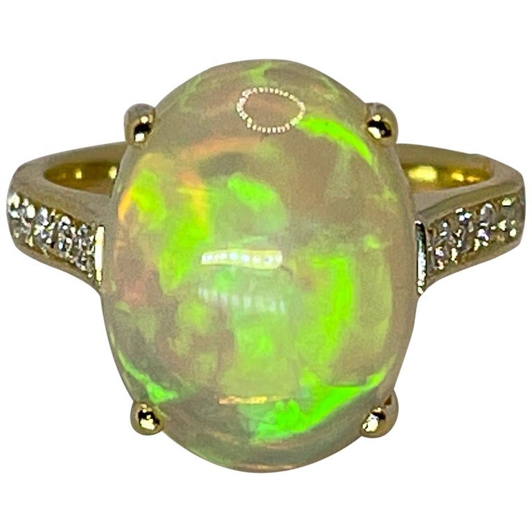 Georgios Collections 18 Karat Yellow Gold Australian Opal Diamond Band Ring For Sale