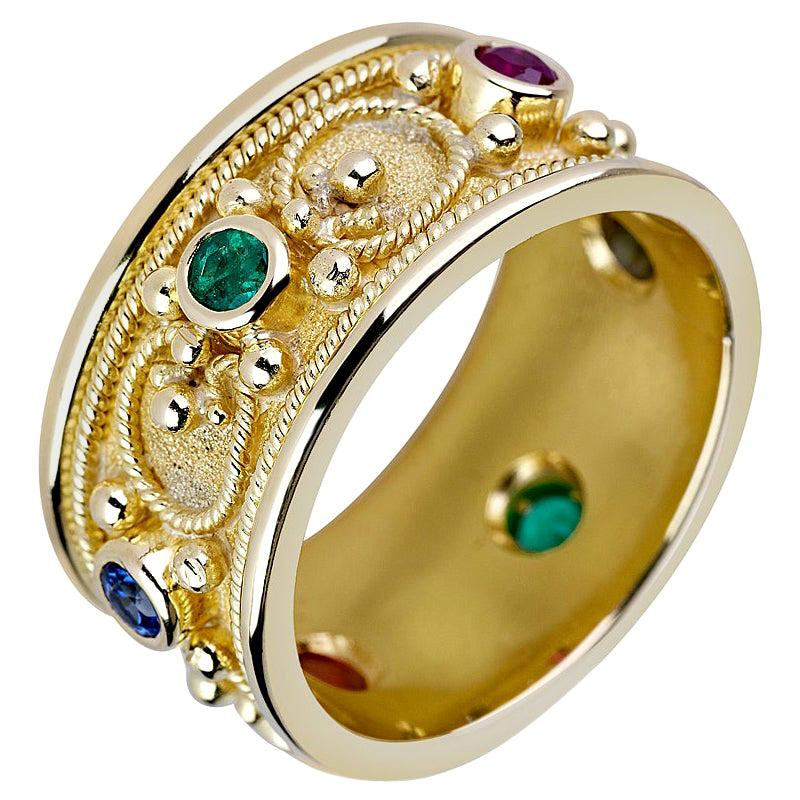 Georgios Collections 18 Karat Yellow Gold Band Ring with Ruby Sapphire Emerald