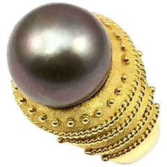 Georgios Collections 18 Karat Yellow Gold Black Pearl Ring with Granulation Work
