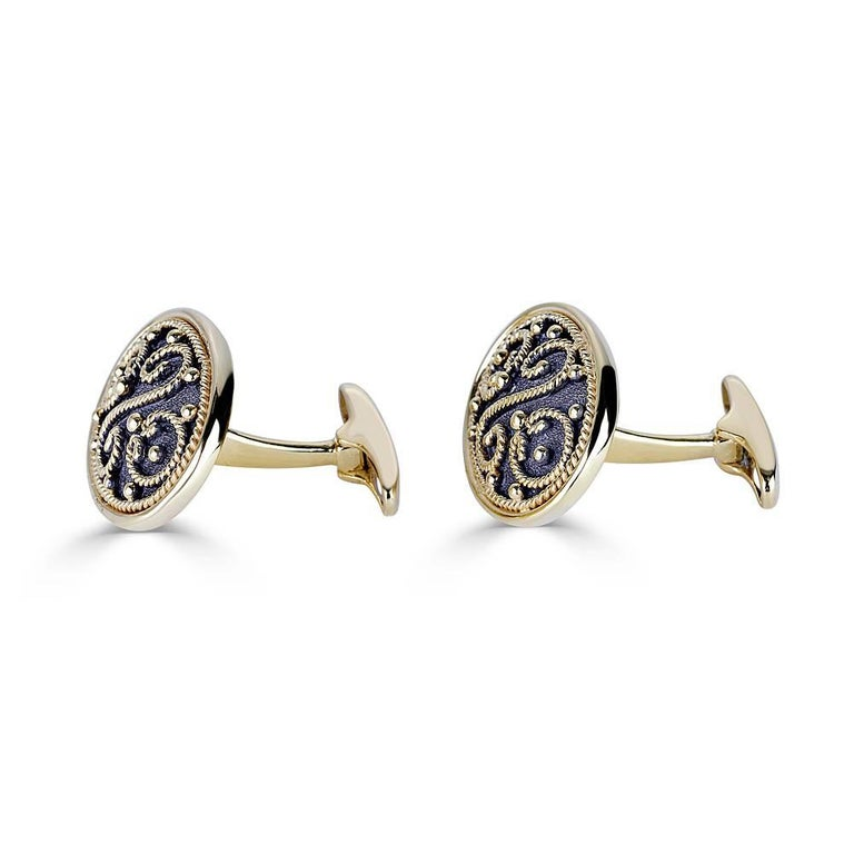S.Georgios designer Cufflinks Hand Made in 18 Karat Yellow Gold and Black oxidized Rhodium. Cufflinks are microscopically decorated with 18 Karat Gold granulation work in Byzantine style and with a unique velvet effect on the background. Also, the