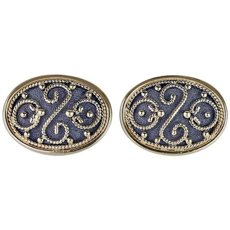 Georgios Collections 18 Karat Yellow Gold Black Rhodium Byzantine Style Cufflink For Sale 3
