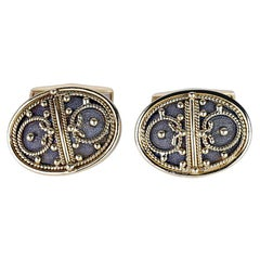 Georgios Collections 18 Karat Yellow Gold Black Rhodium Byzantine Style Cufflink