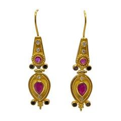 Georgios Collections 18 Karat Yellow Gold Black White Diamond Ruby Drop Earrings