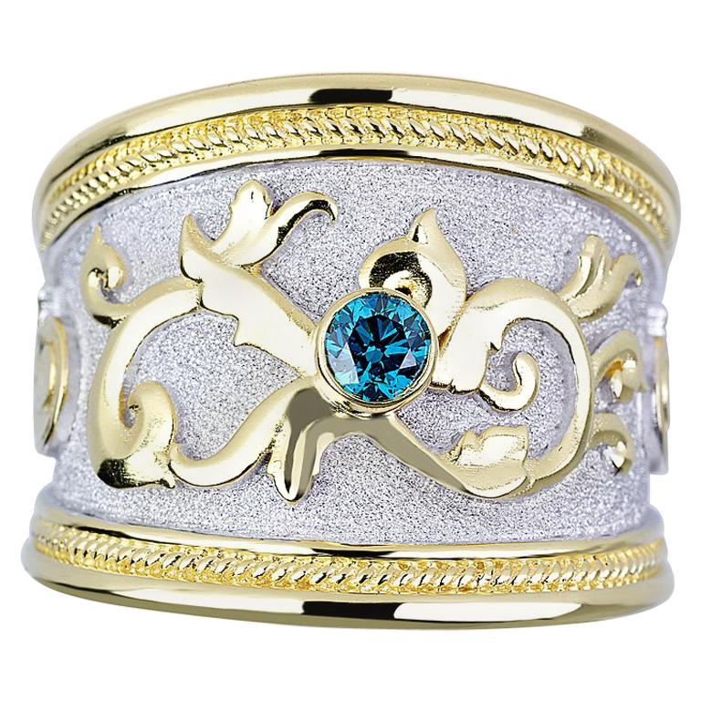 Georgios Collections 18 Karat Yellow Gold Blue Diamond White Rhodium Wide Ring