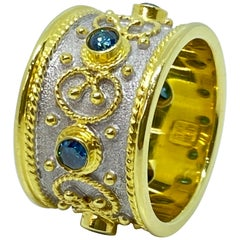 Georgios Collections 18 Karat Yellow Gold Blue Diamond Two-Tone Band Ring