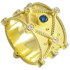 Georgios Collections 18 Karat Yellow Gold Blue White Diamond Granulation Ring