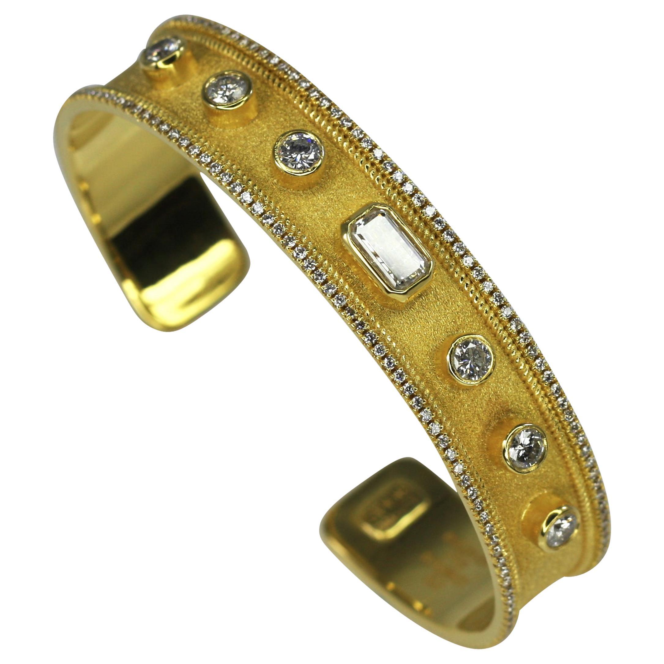 Georgios Collections 18 Karat Yellow Gold Cuff Bracelet with White Diamonds