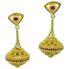 Georgios Collections 18 Karat Yellow Gold Byzantine-Era Style Ruby Drop Earrings